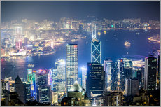 Wall sticker  Hong Kong city and harbour at night - Matteo Colombo