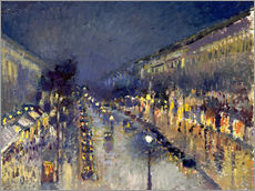 Gallery Print  The Boulevard Montmartre at Night - Camille Pissarro