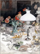 Gallery print  Around the lamp at evening  - Carl Larsson
