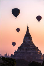 Gallery print  Temple at sunrise with balloons flying, Bagan, Myanmar - Matteo Colombo