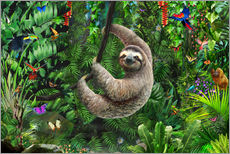 Wall Sticker  Sloth in the jungle - Adrian Chesterman