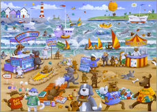 Gallery print  Cats and dogs on the beach - Peter Adderley