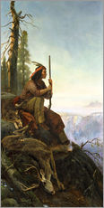 Gallery print  The signal fire (Indian after the hunting) 1880 - William Hahn