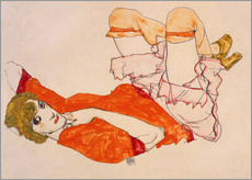 Wall sticker  Wally in a red blouse with knees lifted up - Egon Schiele
