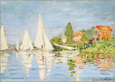 Wood print  Regatta boats in Argenteuil - Claude Monet