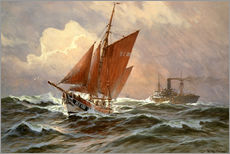 Wall sticker  Sailors and steamboat on the North Sea - Willy Stöwer
