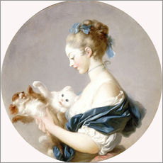Gallery Print  Girl with a dog and a cat - Jean-Honoré Fragonard