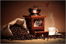 Wall sticker Coffee grinder with beans and cup