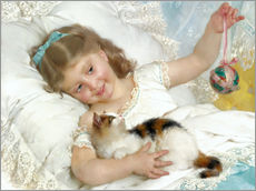Wall sticker  Little girl with kitten - Emile Munier
