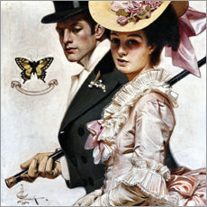 Foam board print  Couple in Victorian fashion - Joseph Christian Leyendecker