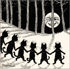 Wall sticker  Cats dancing at full moon - Louis Wain