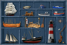 Wall sticker The maritime case cabinet