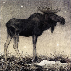 Gallery print  Moose Skutt and Princess Tuvstarr - John Bauer