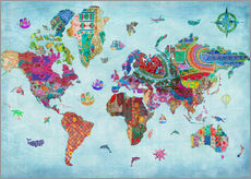Wall sticker  24838 World Map Quilt (Variant 1) - Aimee Stewart