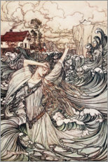 Gallery print  Undine, Soon she was lost to sight in the Danube - Arthur Rackham