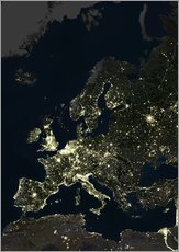 Gallery Print  Europe at night - Planetobserver
