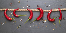 Wall sticker  red hot chilli peppers with spice - pixelliebe