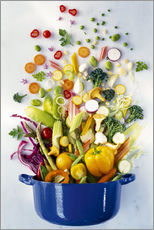 Gallery print  Vegetables falling into a pot