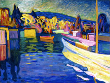 Canvas print  Autumn landscape with boats - Wassily Kandinsky