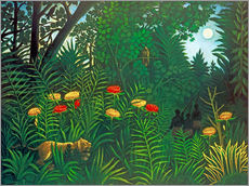 Wall sticker Exotic landscape with tiger and hunters