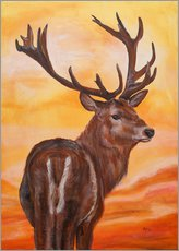 Gallery print  sundown, deer - Annett Tropschug