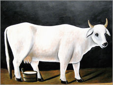 Wall sticker  White Cow on a Black Background - Niko Pirosmani