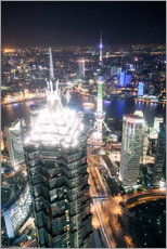 Wall Stickers  Shanghai city from the top, illuminated at night, China - Matteo Colombo