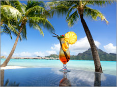 Gallery Print  Cocktail on the beach in Bora Bora, French Polynesia - Jan Christopher Becke