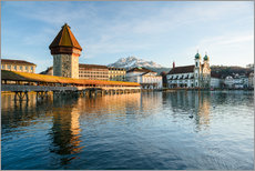 Gallery print  Chapel Bridge in Luzern with Pilatus in the Background, Switzerland. - Peter Wey