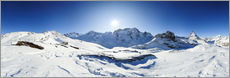 Gallery print  360 degree mountain panorama from Riffelberg above Zermatt with Monte Rosa and Matterhorn in Winter - Peter Wey