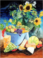Wall sticker  Still life with sunflowers, fruits and cheese - Gerhard Kraus