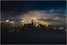 Gallery Print  Machapuchare (Machhapuchhre) (Fish Tail) mountain, in the Annapurna Himal of north central Nepal, Ne - Mark Chivers