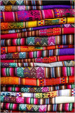 Gallery print  Woven blankets at a market, Cuzco - Yadid Levy