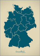 Ingo Menhard - Modern map of Germany Artwork Design