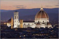 Gallery print  Duomo at night from Piazza Michelangelo, Florence, UNESCO World Heritage Site, Tuscany, Italy, Europ - Stuart Black