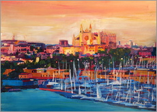 Wall sticker  Spain Balearic Island Palma de Mallorca with Harbour and Cathedral - M. Bleichner