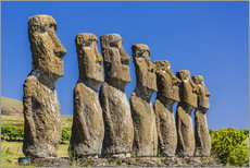 Gallery Print  Seven Moai at Ahu Akivi, the first restored altar on Easter Island (Isla de Pascua) (Rapa Nui), UNES - Michael Nolan