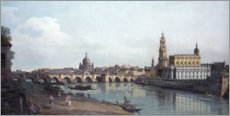 Wood print  Dresden and the Augustusbrücke - Bernardo Bellotto (Canaletto)
