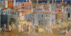 Gallery print  Effects of Good Government in the city - Ambrogio Lorenzetti