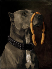 Wood  Great Dane with sausages - Wilhelm Trübner