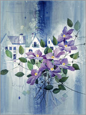 Wall sticker View with clematis