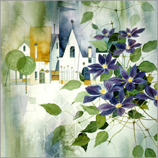 Wall sticker Rural impression with clematis