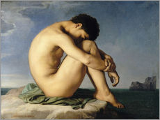 Gallery print  Naked young man is sitting by the sea - Hippolyte Flandrin