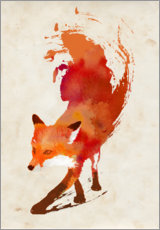 Wood print  Creeping fox - Robert Farkas