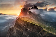 Gallery print  Sunrise in the Dolomites at Seceda - Andreas Wonisch