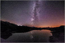 Wall sticker  Nightscape at small mountain lake at Legler mountain hut with galaxy  Glarus, Switzerland - Peter Wey