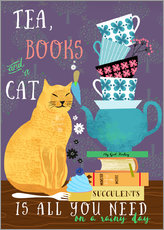 Gallery print  Tea, books and a cat - Elisandra Sevenstar