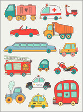 Wall sticker  So many cars - Petit Griffin