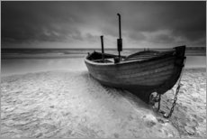 Wall sticker Fishing boat on the beach monochrome