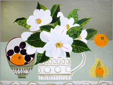 Gallery print  White Camellia and Tangerines - Vanessa Bowman